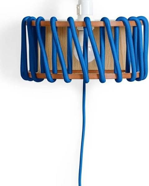 Emko Modrá nástěnná lampa s dřevěnou konstrukcí EMKO Macaron,šířka30cm