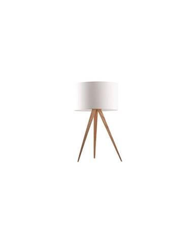 Bílá stolní lampa Zuiver Tripod Wood, ø 28 cm