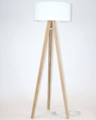 Stojací lampa s bílým stínítkem a transparentním kabelem Ragaba Wanda