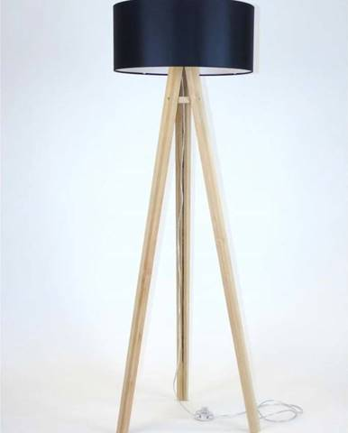 Stojací lampa s černým stínítkem a transparentním kabelem Ragaba Wanda