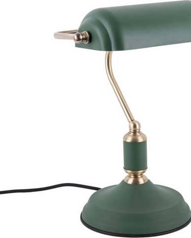 Zelená stolní lampa s detaily ve zlaté barvě Leitmotiv Bank