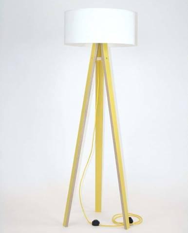 Žlutá stojací lampa s bílým stínítkem a žlutým kabelem Ragaba Wanda
