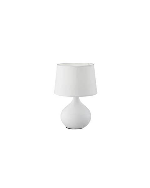 TRIO Bílá stolní lampa z keramiky a tkaniny Trio Martin, výška 29 cm