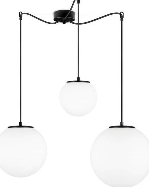 Sotto Luce Bílé tříramenné závěsné svítidlo s objímkou v černé barvě Sotto Luce TSUKI