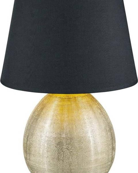 TRIO Černá stolní lampa z keramiky a tkaniny Trio Luxor, výška 35 cm