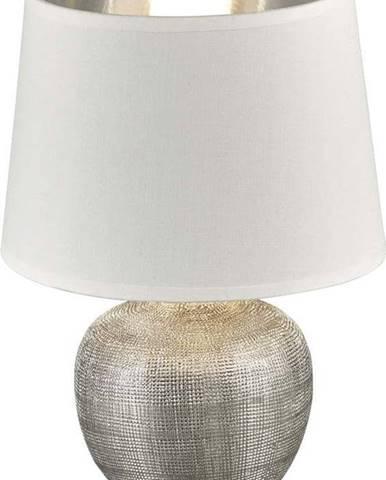 Bílá stolní lampa z keramiky a tkaniny Trio Luxor, výška 26 cm