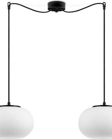 Bílé dvouramenné závěsné svítidlo s černou objímkou Sotto Luce DOSEI