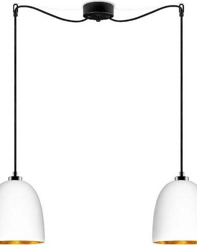 Bílé dvouramenné závěsné svítidlo s černým kabelem adetailem vezlaté barvěSotto Luce Awa Matte