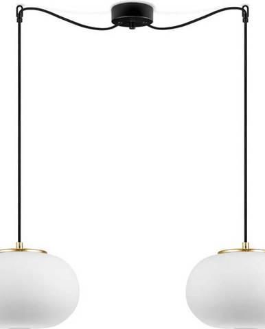 Bílé dvouramenné závěsné svítidlo s objímkou ve zlaté barvě Sotto Luce DOSEI
