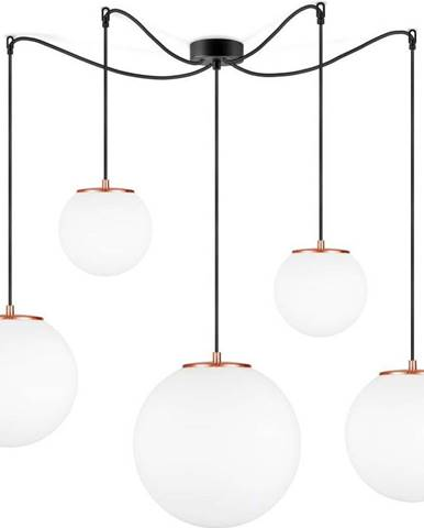 Bílé pětiramenné závěsné svítidlo s objímkou v měděné barvě Sotto Luce TSUKI