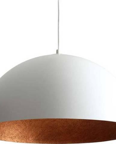 Bílé závěsné svítidlo s detailem v měděné barvě Custom Form Lord, ø 50 cm