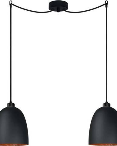 Černé dvouramenné závěsné svítidlo s detailem v měděné barvě Sotto Luce AWA Elementary 2S