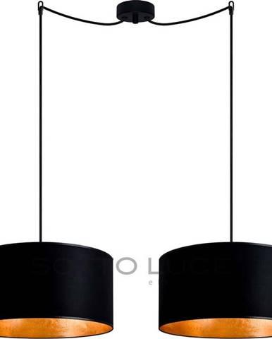 Černé dvouramenné závěsné svítidlo s detaily ve zlaté barvě Sotto Luce Mika