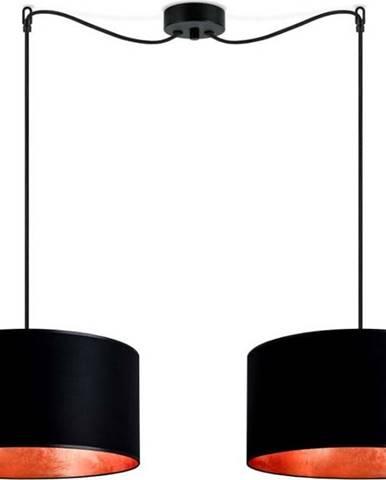 Černé dvouramenné závěsné svítidlo s vnitřkem v měděné barvě Sotto Luce Mika