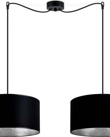 Černé dvouramenné závěsné svítidlo s vnitřkem ve stříbrné barvě Sotto Luce Mika