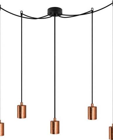 Černé pětiramenné závěsné svítidlo s detaily v měděné barvě Bulb Attack Cero