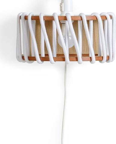Bílá nástěnná lampa s dřevěnou konstrukcí EMKO Macaron,délka30cm