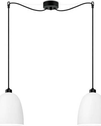 Bílé dvouramenné závěsné svítidlo s černým kabelem Sotto Luce Awa Matte