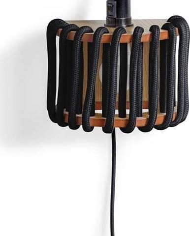 Černá nástěnná lampa s dřevěnou konstrukcí EMKO Macaron,délka20cm