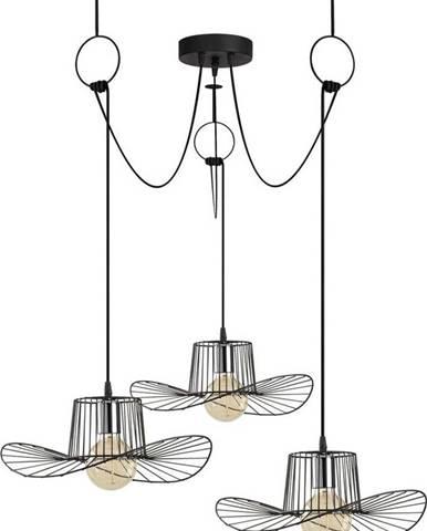 Černé závěsné svítidlo pro 3 žárovky Opviq lights Tel Hat