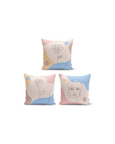 Sada 3 dekorativních povlaků na polštáře Minimalist Cushion Covers Minimalist,45x45cm