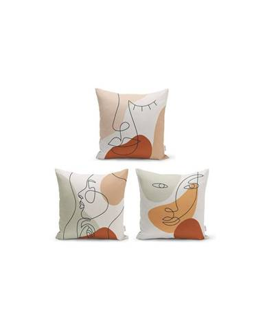 Sada 3 dekorativních povlaků na polštáře Minimalist Cushion Covers Woman Face,45x45cm