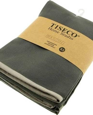 Sada 3 šedých bavlněných utěrek Tiseco Home Studio, 50 x 70 cm