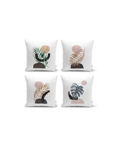 Sada 4 dekorativních povlaků na polštáře Minimalist Cushion Covers Geometric Leaf,45x45cm