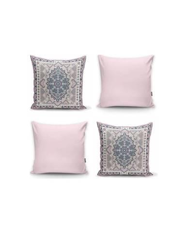 Sada 4 dekorativních povlaků na polštáře Minimalist Cushion Covers Pink Ethnic,45x45cm