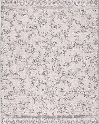 Šedý venkovní koberec Universal Weave Floral, 130 x 190 cm