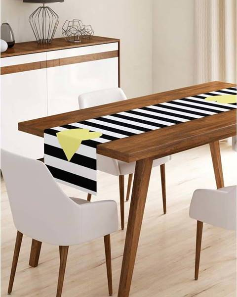 Minimalist Cushion Covers Běhoun na stůl z mikrovlákna Minimalist Cushion Covers Stripes with Yellow Heart, 45x145cm