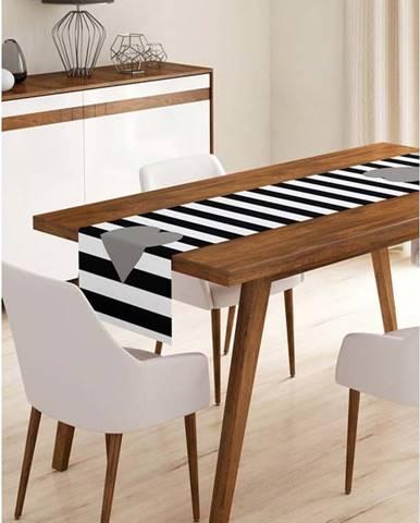Běhoun na stůl z mikrovlákna Minimalist Cushion Covers Stripes with Grey Heart, 45x145cm