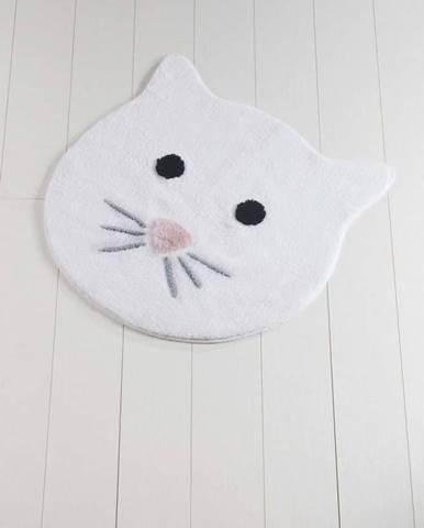 Bílá koupelnová předložka Cat, ⌀ 90 cm