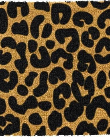 Černá rohožka z přírodního kokosového vlákna Artsy Doormats Leopard, 40x60cm