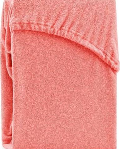 Korálově růžové elastické prostěradlo na dvoulůžko AmeliaHome Ruby Siesta, 180/200 x 200 cm