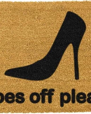 Rohožka z přírodního kokosového vlákna Artsy Doormats Shoes Off Please,40x60cm