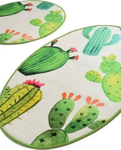 Sada 2 bílo-zelených koupelnových předložek Tropica Cactus I