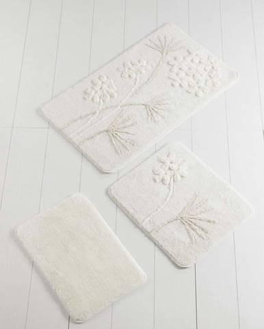 Sada 3 bílých předložek do koupelny Flowers