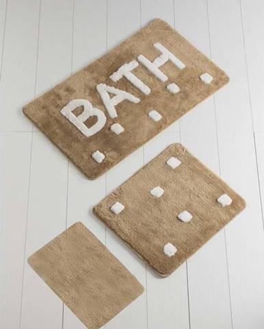 Sada 3 hnědých koupelnových předložek Bath