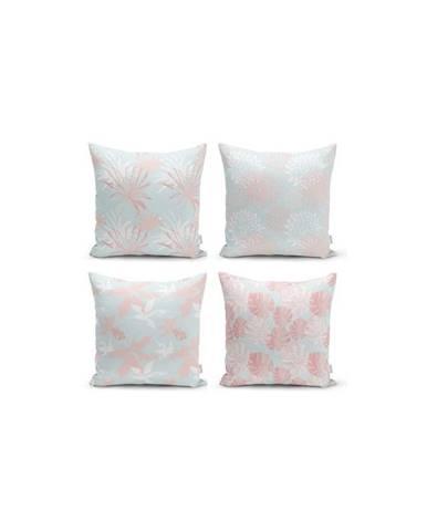 Sada 4 dekorativních povlaků na polštáře Minimalist Cushion Covers Blue Leaves,45x45cm