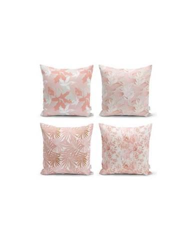 Sada 4 dekorativních povlaků na polštáře Minimalist Cushion Covers Pink Leaves,45x45cm