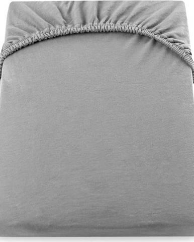 Šedé elastické prostěradlo DecoKing Nephrite, 180/200 x 200cm