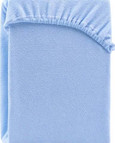 Světle modré elastické prostěradlo na dvoulůžko AmeliaHome Ruby Siesta, 200/220 x 200 cm