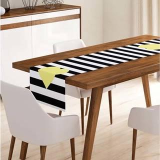 Běhoun na stůl z mikrovlákna Minimalist Cushion Covers Stripes with Yellow Heart, 45x145cm