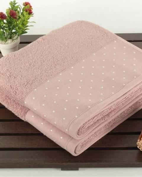 Saheser Sada 2 pudrově růžových bavlněných ručníků Patricia, 50x90cm