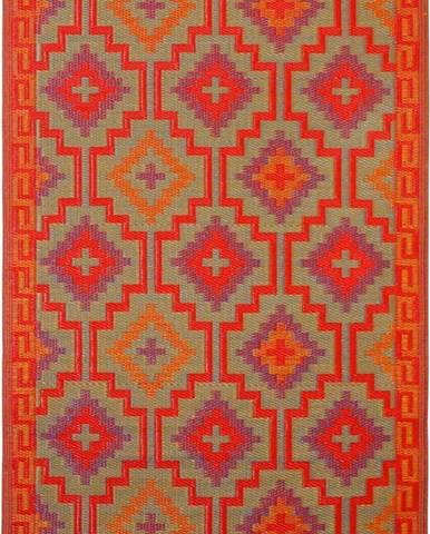 Oranžovo-fialový oboustranný venkovní koberec z recyklovaného plastu Fab Hab Lhasa Orange & Violet, 120 x 180 cm