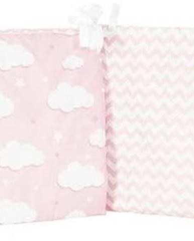 Růžový ochranný bavlněný mantinel do dětské postýlky Mike&Co.NEWYORK Carino, 40 x 210 cm