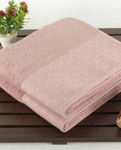 Sada 2 pudrově růžových bavlněných ručníků Patricia, 50x90cm