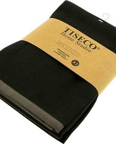 Sada 3 černých bavlněných utěrek Tiseco Home Studio, 50 x 70 cm