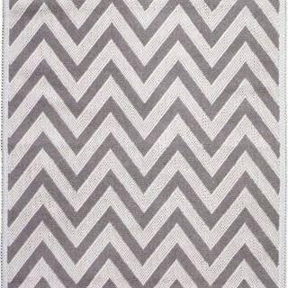 Béžový bavlněný koberec Vitaus Zikzak, 80x200cm